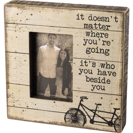 "Box Frame - Doesn't Matter Where You're Going - 10"" x 10"" x 2"", Fits 4"" x 6"" Photo - Wood, Paper, Glass"