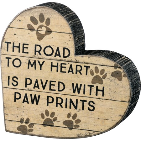 "Chunky Sitter - Road Paved With Paw Prints - 6"" x 5.50"" x 1"" - Wood, Paper"