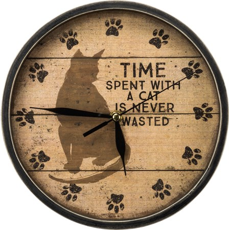 "Clock - Time Spent With A Cat Is Never Wasted - 9.50"" Diameter x 1.75"" - Wood, Paper, Glass, Metal"