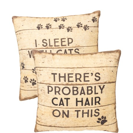 "Pillow - I Sleep With Cats - 12"" x 12"" - Cotton, Linen"