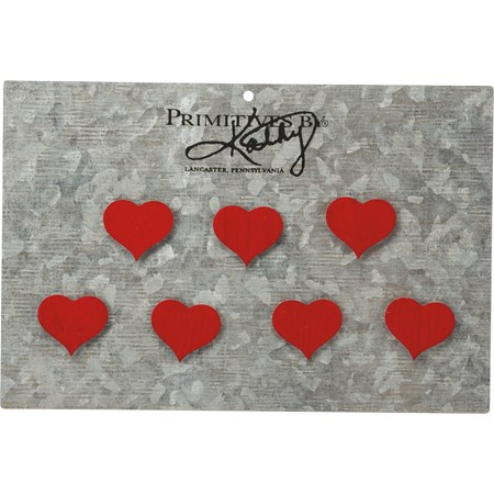 "Magnet Set - Hearts - 1"", Card: 6"" x 4"" - Metal, Magnet"