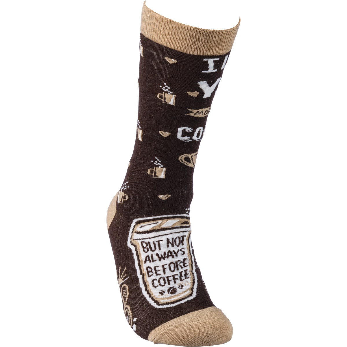 Socks - I Love You More Than Coffee - One Size Fits Most - Cotton, Nylon, Spandex