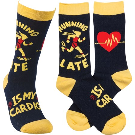 Socks - Running Late Is My Cardio - One Size Fits Most - Cotton, Nylon, Spandex