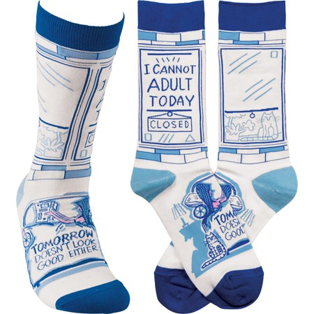 Socks - I Cannot Adult Today - One Size Fits Most - Cotton, Nylon, Spandex