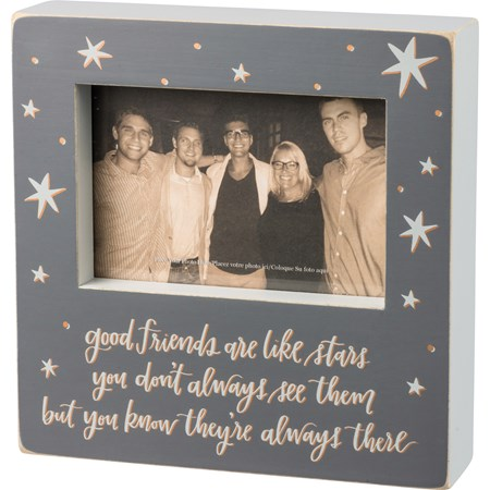 "Box Frame - Good Friends Are Like Stars - 8"" x 8"" x 2"", Fits 6"" x 4"" Photo - Wood, Glass"