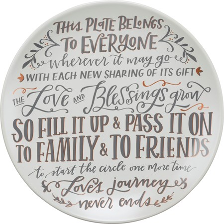 "Giving Plate - This Plate Belongs To Everyone - 12"" Diameter - Stoneware"