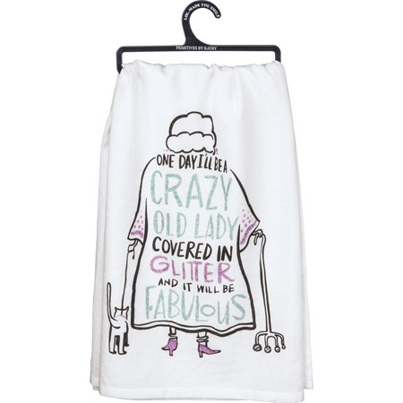 "Dish Towel - Crazy Old Lady Covered In Glitter - 28"" x 28"" - Cotton, Glitter"