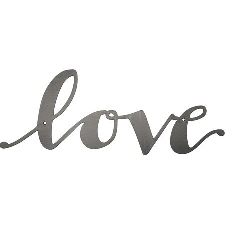 "Metal Word - Love  - 11"" x 4.25"" - Metal"