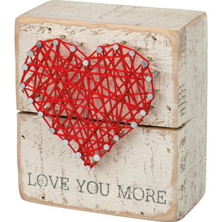 "String Art - Love You More  - 3.50"" x 4"" x 1.75"" - Wood, Metal, String"