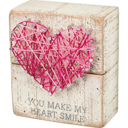 "String Art - You Make My Heart Smile - 3.50"" x 4"" x 1.75"" - Wood, Metal, String"
