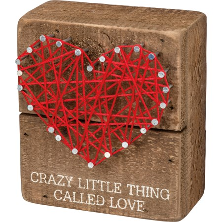 "String Art - Crazy Little Thing Called Love - 3.50"" x 4"" x 1.75"" - Wood, Metal, String"