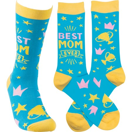 Socks - Best Mom Ever - One Size Fits Most - Cotton, Nylon, Spandex