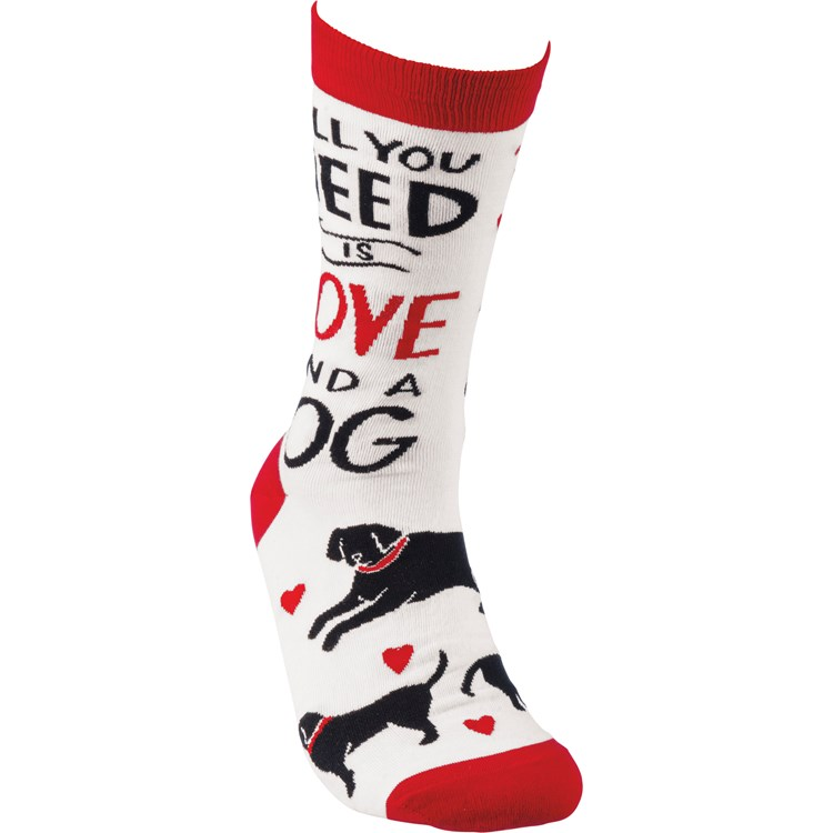 Socks - All you Need Is Love And A Dog - One Size Fits Most - Cotton, Nylon, Spandex