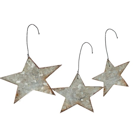 "Ornament Set - Galvanized Stars - 2"", 1.25"", 2"" Across - Metal, Wire"