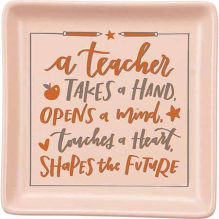 "Trinket Tray - Teacher - 4.25"" x 4.25"" x 0.50"" - Stoneware"