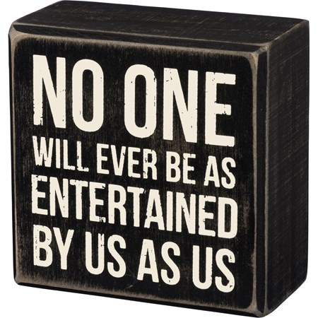 "Box Sign - Entertained - 3.50"" x 3.50"" x 1.75"" - Wood"