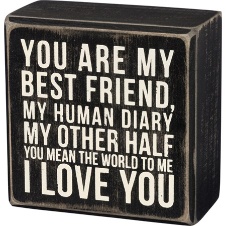 "Box Sign - I Love You - 3.50"" x 3.50"" x 1.75"" - Wood"