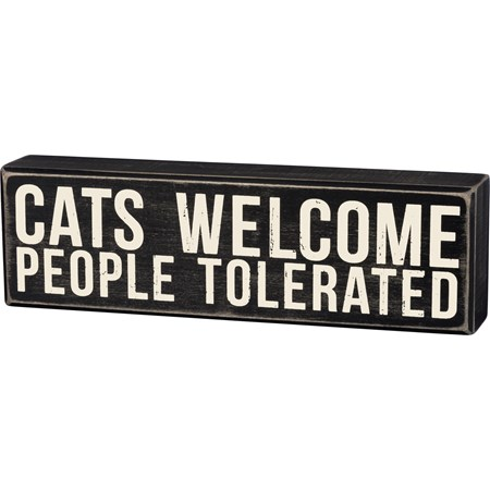 "Box Sign - Cats Welcome - 10"" x 3"" x 1.75"" - Wood"
