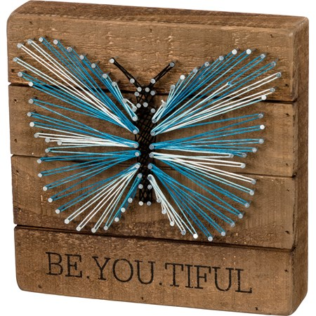 "String Art - Be.You.Tiful. - 8"" x 8"" x 1.75"" - Wood, Metal, String"