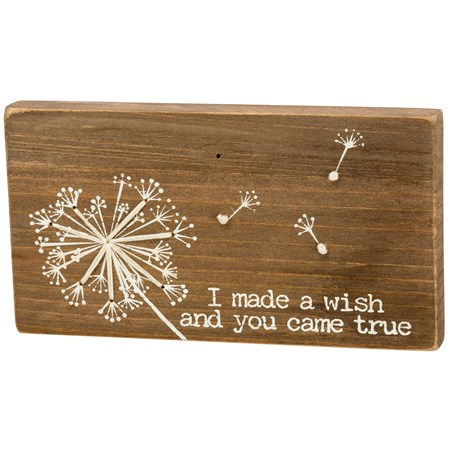 "Stitched Block - I Made A Wish And You Came True - 6.50"" x 3.50"" x 0.50"" - Wood, String"
