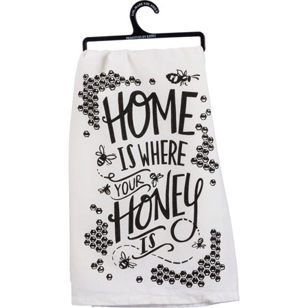 "Dish Towel - Honey Is Where Your Honey Is - 28"" x 28"" - Cotton"