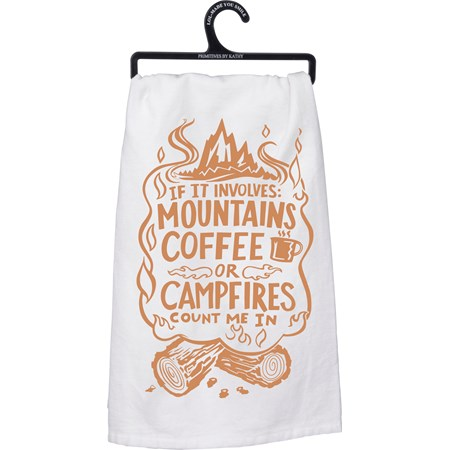 "Dish Towel - Coffee Campfires - 28"" x 28"" - Cotton"