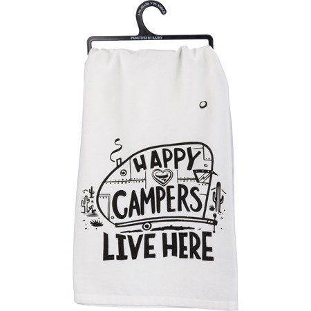 "Dish Towel - Happy Campers - 28"" x 28"" - Cotton"