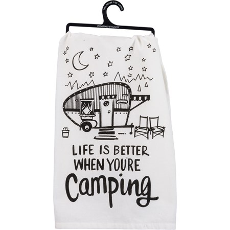 "Dish Towel - Better Camping - 28"" x 28"" - Cotton"