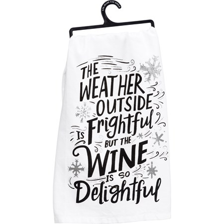 "Dish Towel - Wine Delightful - 28"" x 28"" - Cotton, Glitter"