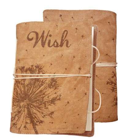 "Journal - Wish - 5"" x 7"" x 1"" - Canvas, Paper"