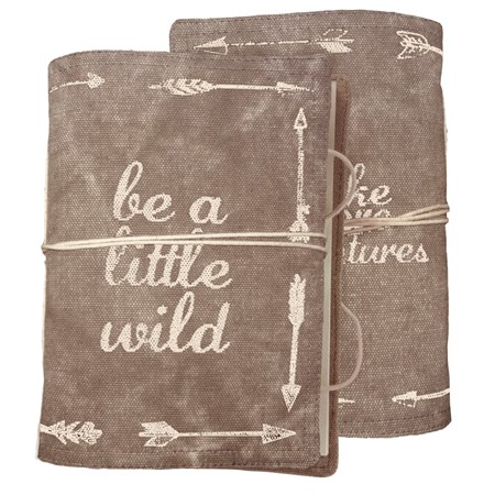 "Journal - Be A Little Wild - 5"" x 7"" x 1"" - Canvas, Paper"