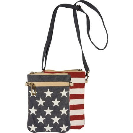 "Crossbody Bag - Stars & Stripes - 6"" x 8"" - Canvas, Leather, Metal"