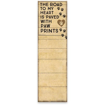 "List Notepad - Paw Prints - 2.75"" x 9.50"" x 0.25"" - Paper, Magnet"