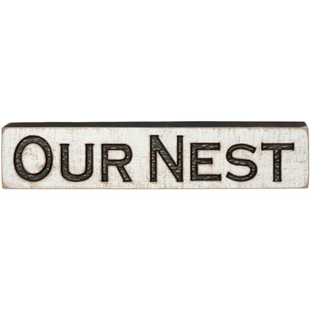 "Carved Sign - Our Nest - 26"" x 5.25"" x 1"" - Wood"