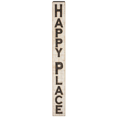 "Jumbo Carved Sign - Happy Place - 5.25"" x 47"" x 1"" - Wood"
