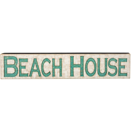 "Jumbo Carved Sign - Beach House - 47"" x 9"" x 1"" - Wood"