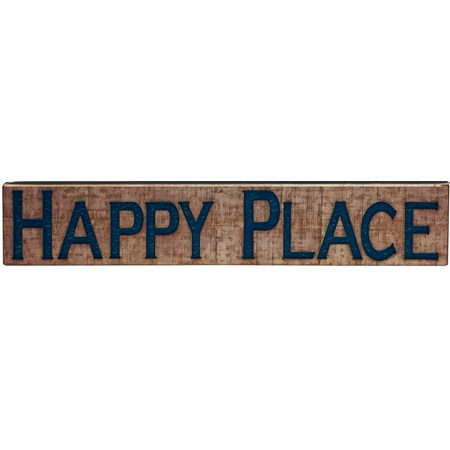 "Jumbo Carved Sign - Happy Place - 47"" x 9"" x 1"" - Wood"