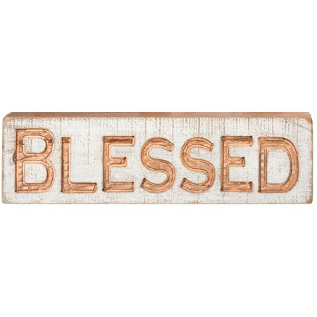 "Carved Sign - Blessed - 19"" x 5.25"" x 1"" - Wood"