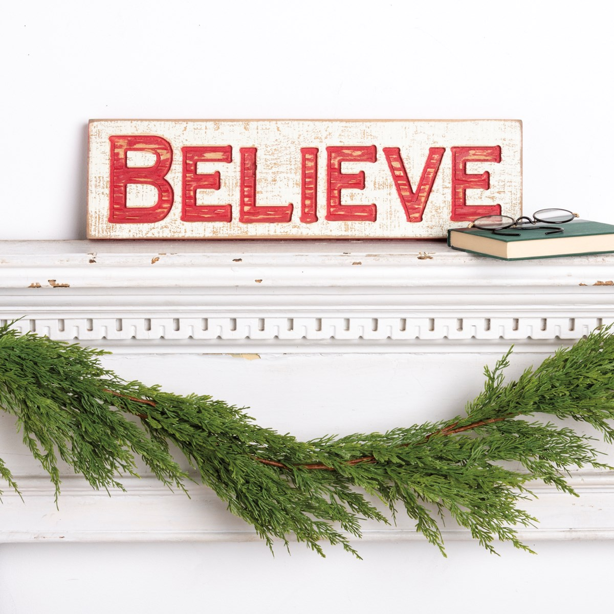 "Carved Sign - Believe - 19"" x 5.25"" x 1"" - Wood"