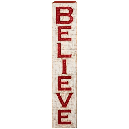 "Jumbo Carved Sign - Believe - 9"" x 47"" x 1"" - Wood"