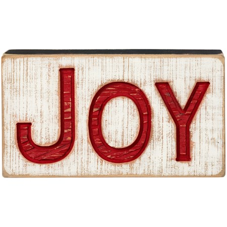 "Carved Sign - Joy - 9.5"" x 5.25"" x 1"" - Wood"