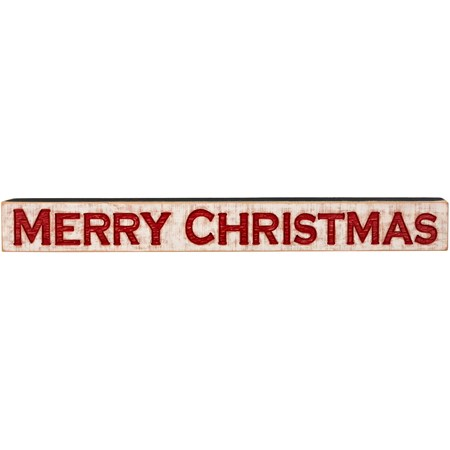 "Carved Sign - Merry Christmas - 47"" x 5.25"" x 1"" - Wood"