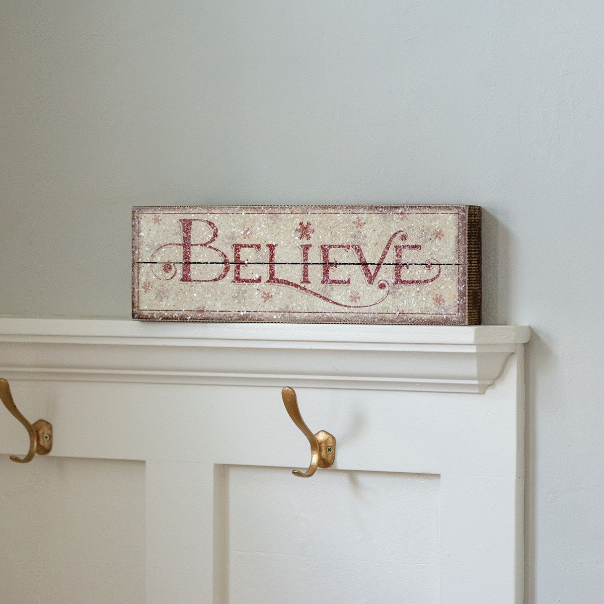 "Slat Box Sign - Believe  - 15.50"" x 5"" x 1.75"" - Wood, Paper, Mica"