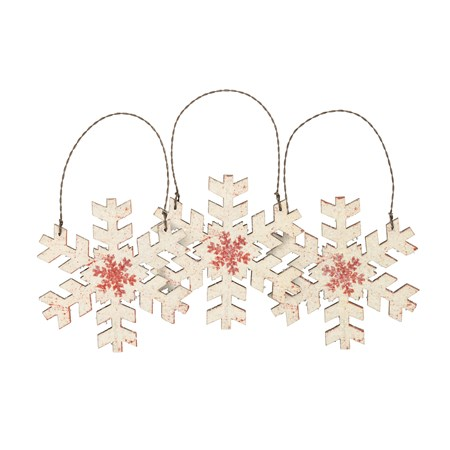 "Ornament Set - Cream Snowflake - 3.50"" x 3.50"" - Wood, Paper, Wire, Mica"