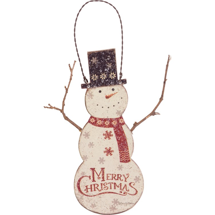 "Ornament - Snowman - 2.50"" x 6"" - Wood, Paper, Wire"