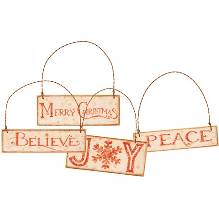 "Ornament Set - Christmas Words - 4.50"" x 1.25"", 4"" x 1.50"", 4.50"" x 2"", 4"" x 1"" - Wood, Paper, Wire, Mica"