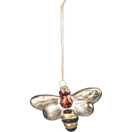 "Glass Ornament - Bee - 4.25"" x 3"" x 1"" - Glass, Metal, Glitter"