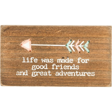 "Stitched Block - Good Friends And Great Adventures - 3.25"" x 1.75"" x 0.50"" - Wood, String, Magnet"