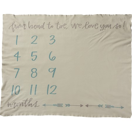 "Milestone Blanket - From Head To Toe, We Love You - 42"" x 36"" - Cotton"
