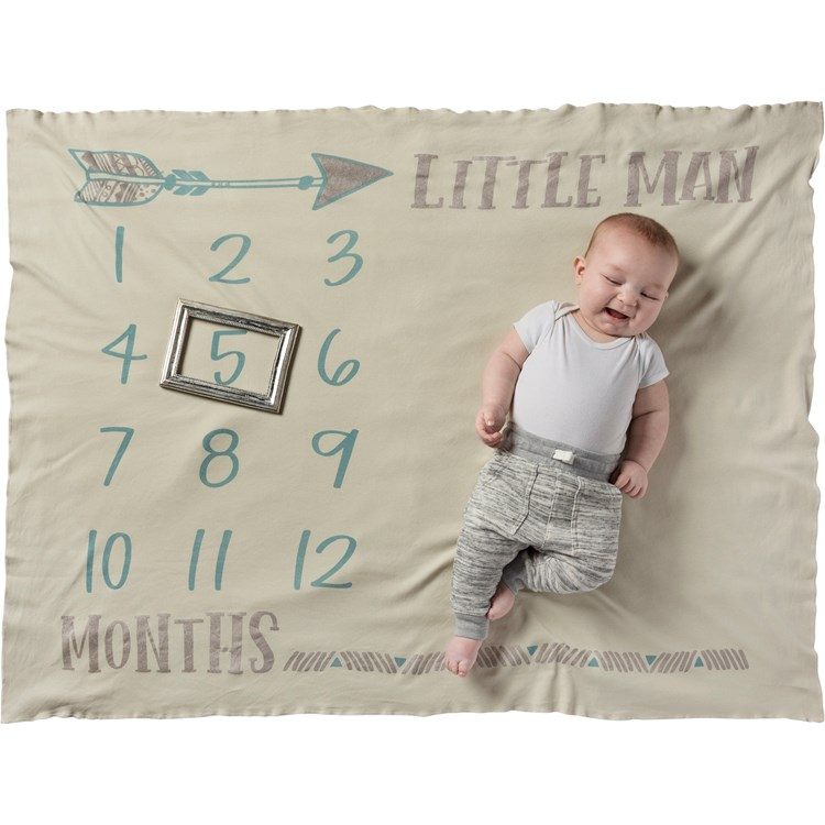 "Milestone Blanket - Little Man - 42"" x 36"" - Cotton"